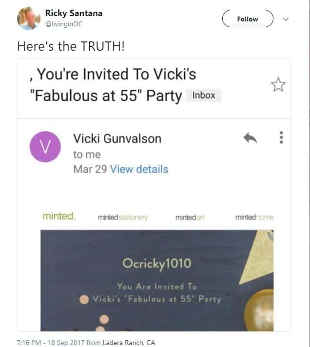 Ricky Santana on Twitter Vicki invitation