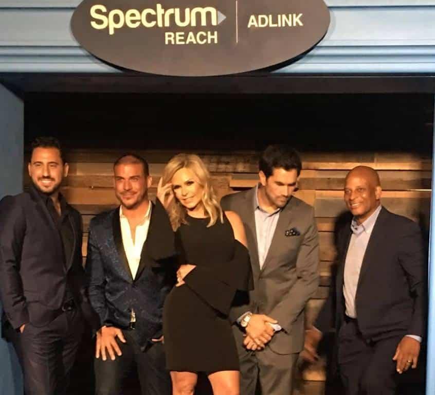 Bravo reality stars Tamra Judge with Josh Altman and Jax Taylor