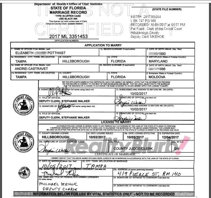 elizabeth and andrei marriage license update
