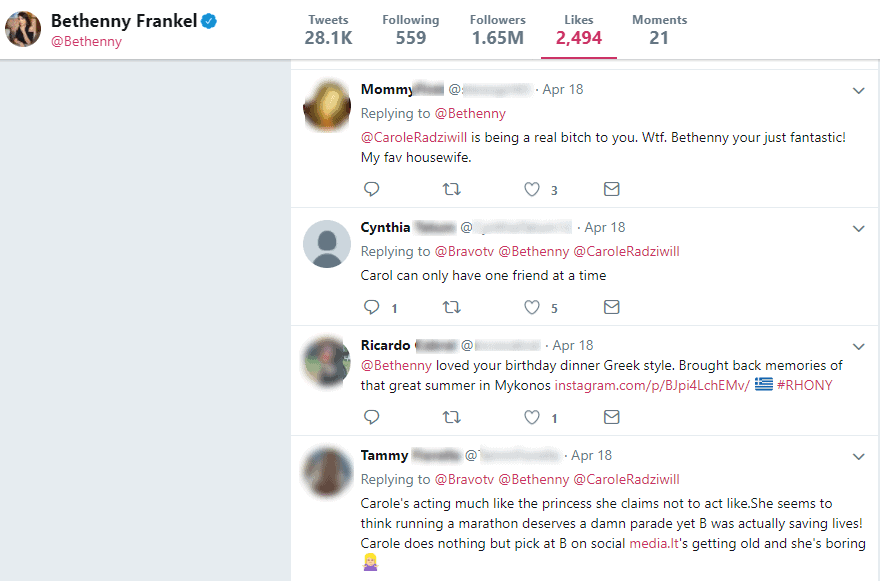 Bethenny Twitter likes about Carole