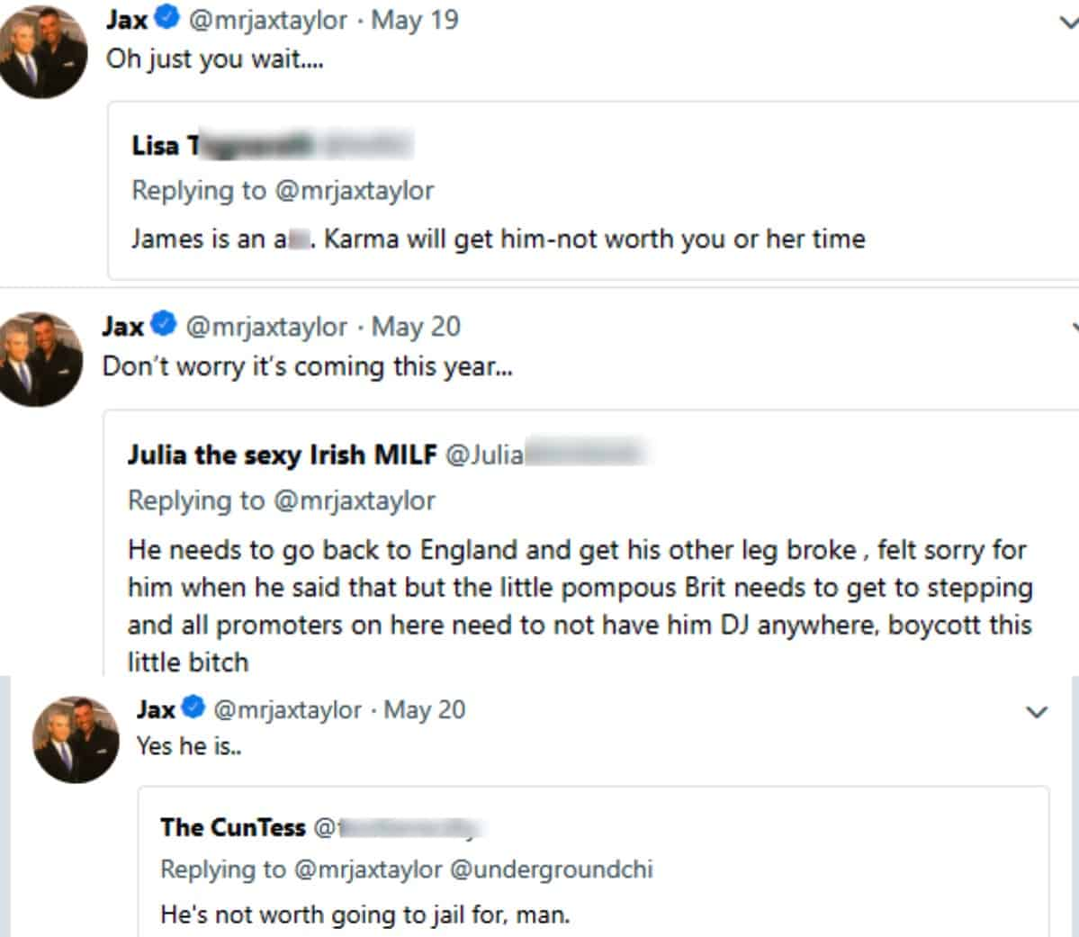 Jax Threatens James on Twitter