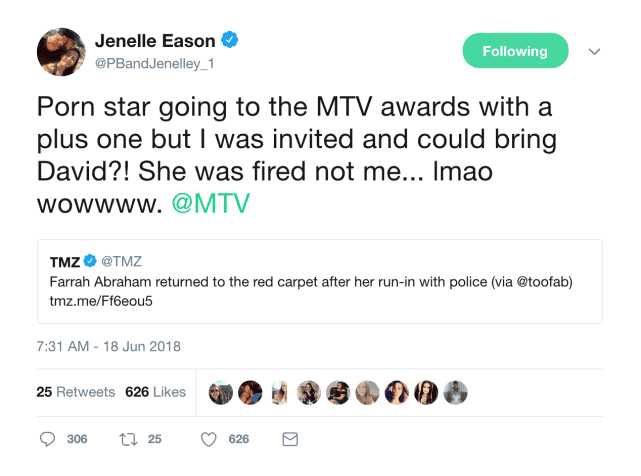 Teen Mom 2 Jenelle Evans MTV Awards Tweet