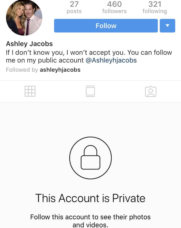 Ashley Jacobs private Instagram account