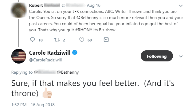 Carole Twitter response