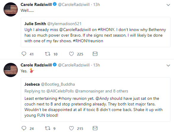 Carole tweets about Andy Cohen