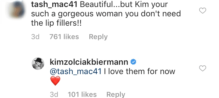 Kim claps back over lips