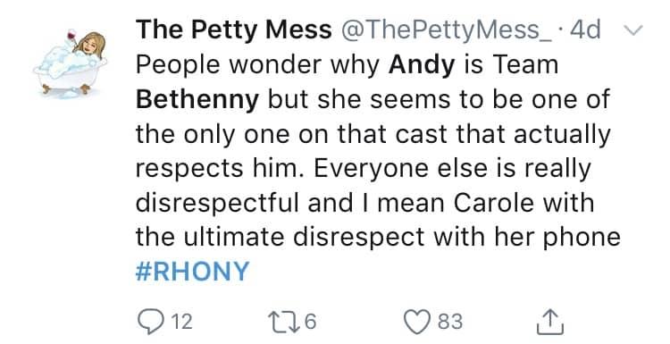 RHONY fan support Andy Cohen