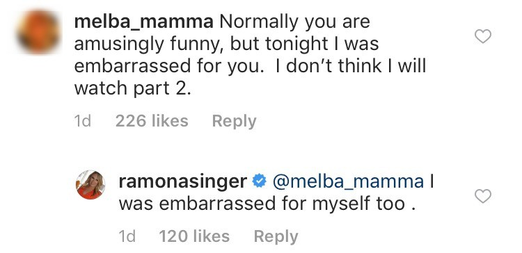 Ramona embarrassed by RHONY reunion behavior