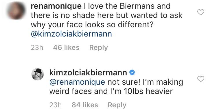 Kim Zolciak blames weight gain for new face