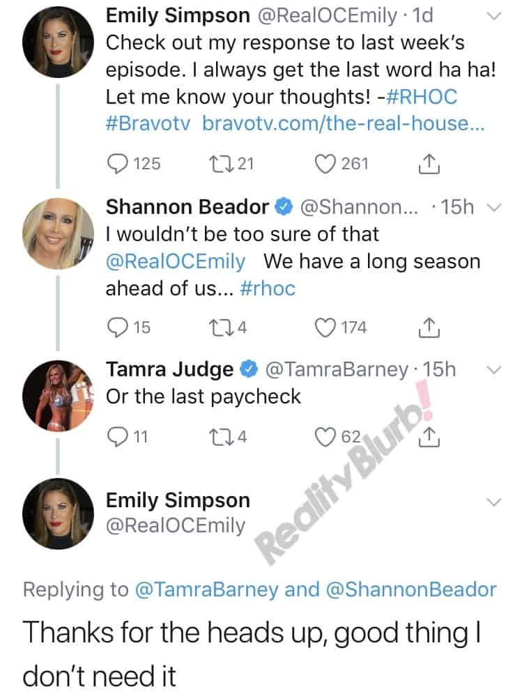 RHOC Emily Simpson vs Tamra Judge Twitter Feud