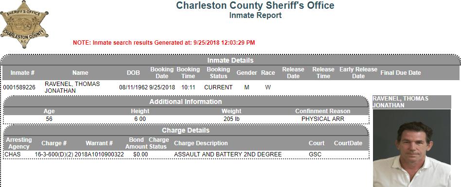 Thomas Ravenel Inmate Details Report