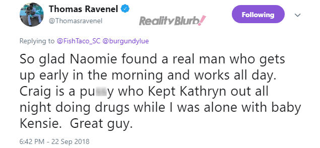 Thomas Ravenel accuses Craig and Kathryn of doing drugs