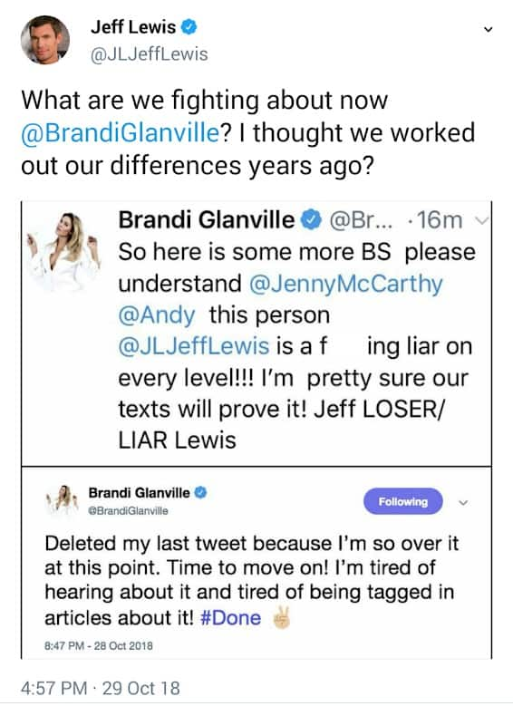 Jeff Lewis Responds To Brandi Tweet
