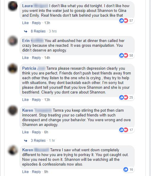 RHOC Tamra Judge backlash on Facebook