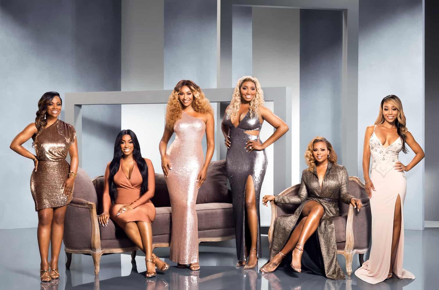 The Real Housewives of Atlanta Season 11 Cast Photo - Cynthia Bailey, Kandi Burruss, NeNe Leakes, Porsha Williams, Eva Marcille and Shamari DeVoe
