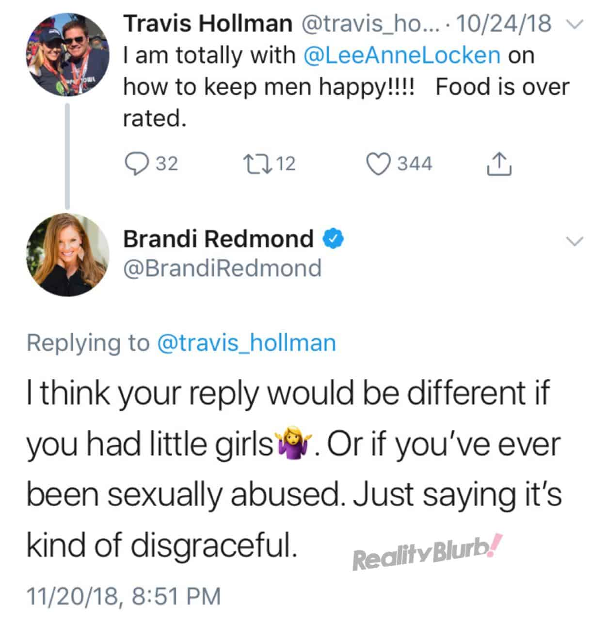 Brandi Redmond slams Travis Hollman