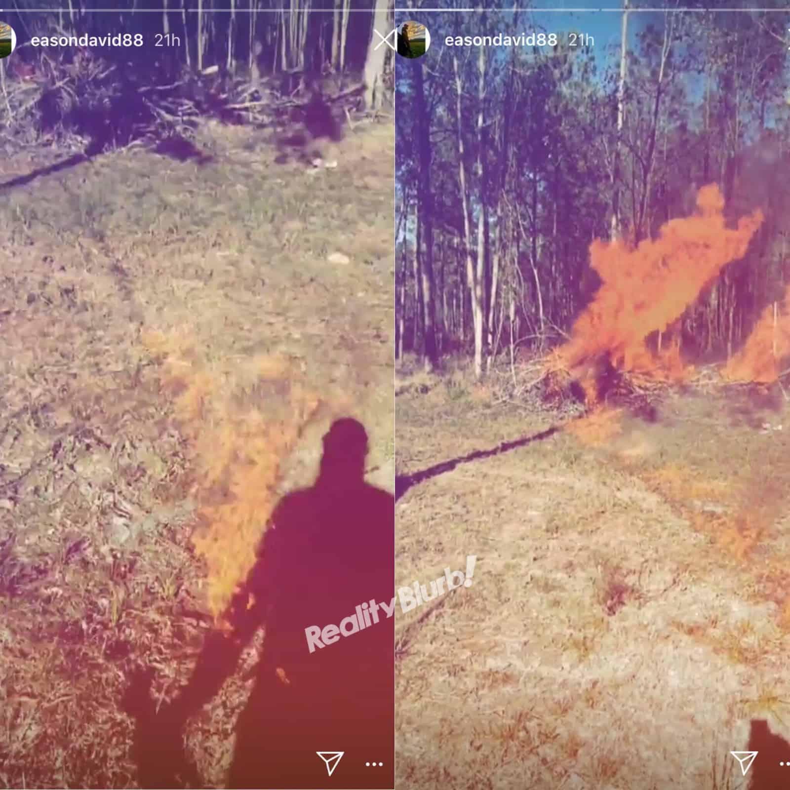 David Eason Lights Fire In Jenelle Evans Backyard