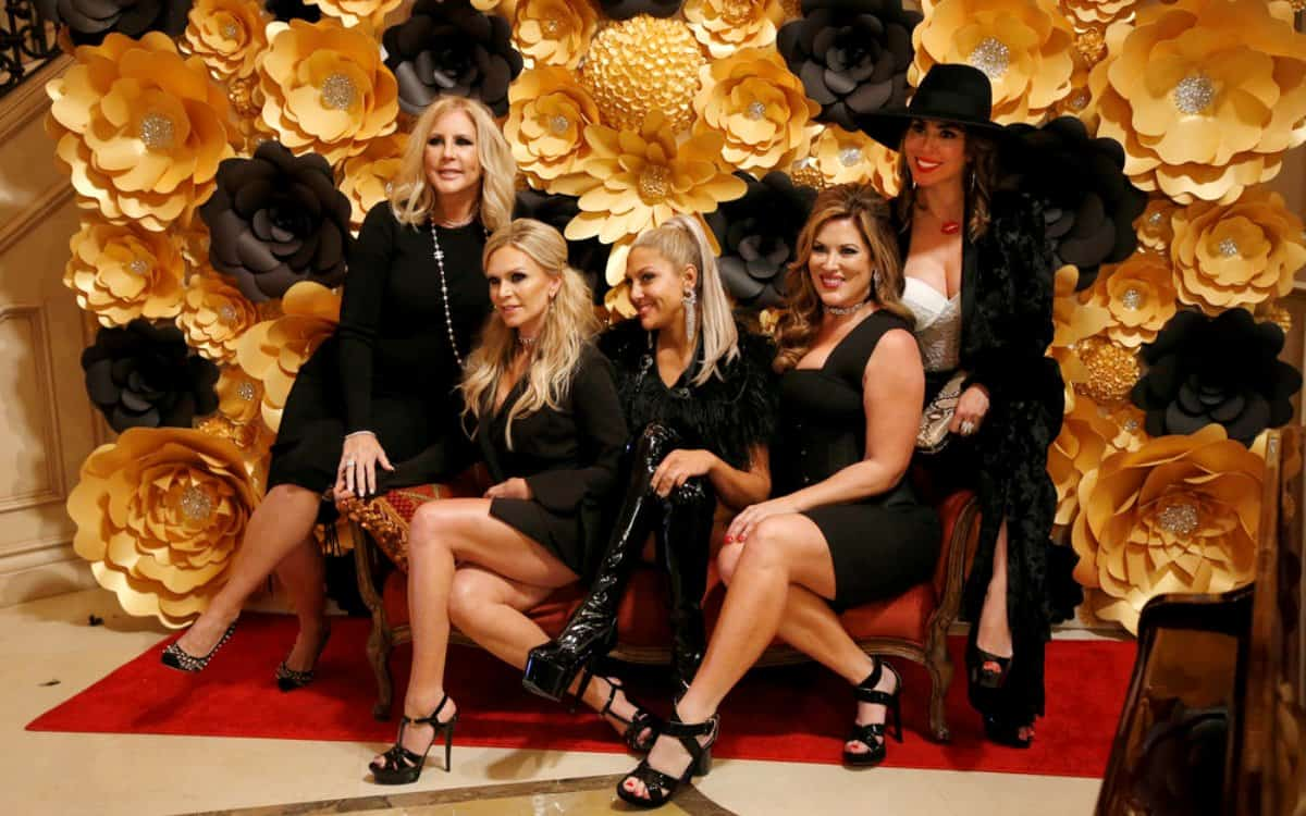 """THE REAL HOUSEWIVES OF ORANGE COUNTY -- """"Femme Finale"""" Episode 1318 -- Pictured: (l-r) Vicki Gunvalson, Shannon Beador, Gina Kirschenheiter, Emily Simpson, Kelly Dodd"""