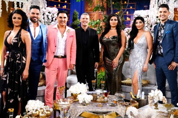 "SHAHS OF SUNSET -- ""Reunion"" -- Pictured: (l-r) Golnesa ""GG"" Gharachedaghi, Mike Shouhed, Reza Farahan, Andy Cohen, Mercedes ""MJ"" Javid, Destiney Rose, Nema Vand"