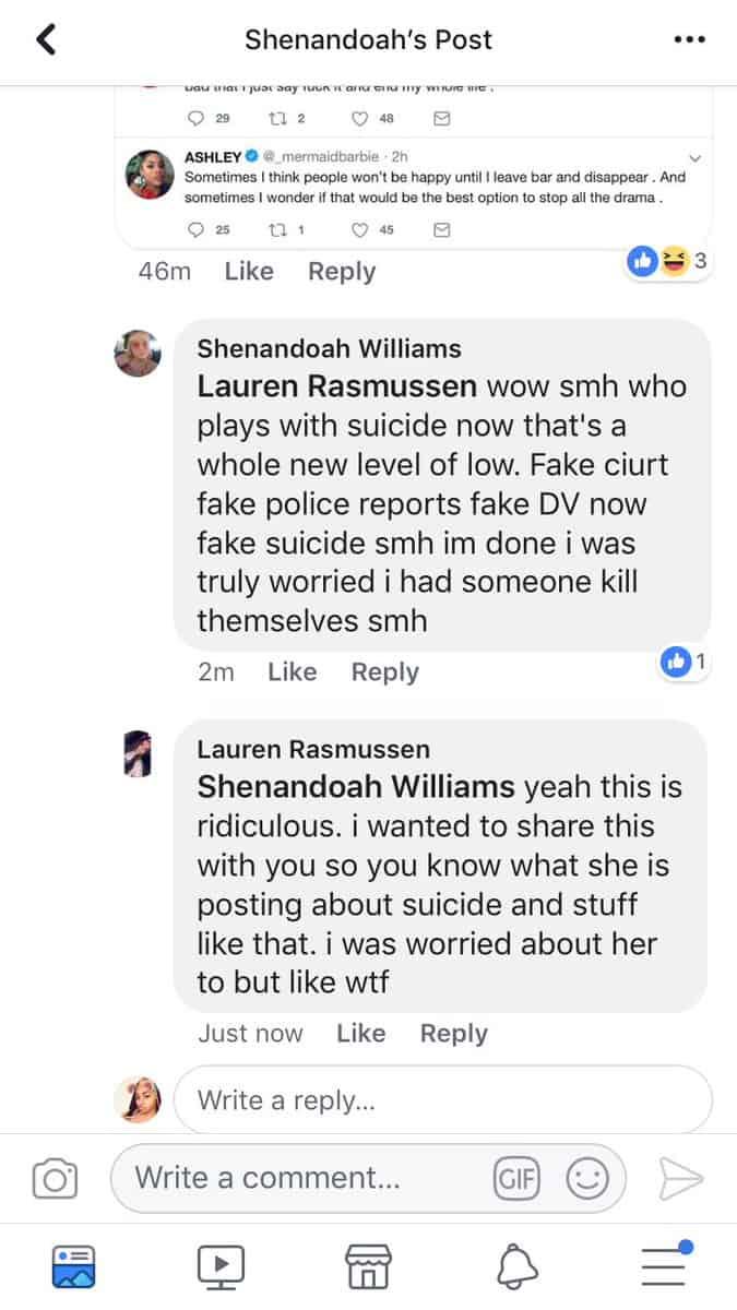 Shenandoah Williams Comments To Ashley Jones