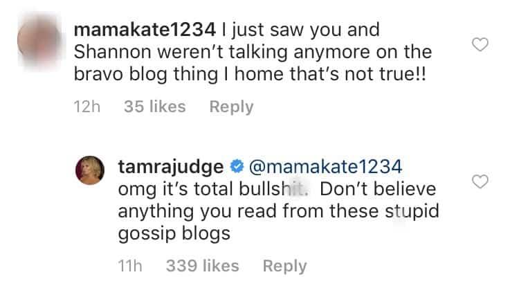 RHOC Tamra Judge Denies Shannon Beador Feud
