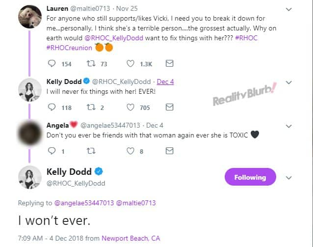 Kelly wont reconcile with Vicki