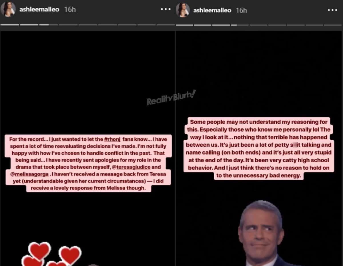 RHONJ Ashlee Holmes apologizes to Teresa Giudice and Melissa Gorga