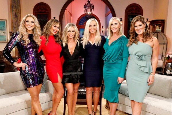 "THE REAL HOUSEWIVES OF ORANGE COUNTY -- ""Reunion"" -- Pictured: (l-r) Gina KIrschenhelter, Kelly Dodd, Tamra Judge, Shannon Beador, Vicki Gunvalson, Emily Simpson"