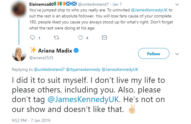 Ariana Madix denies being a follower