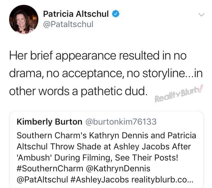 Patricia comments on Ashley Jacobs Return