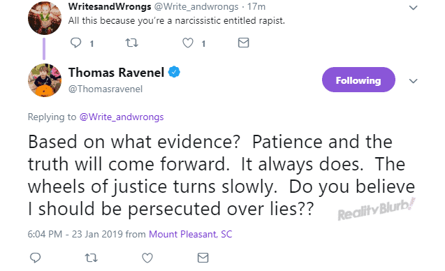 Thomas Ravenel tweets about rape accusations