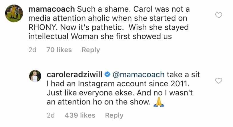 RHONY Carole Radziwill Called Media Attention Aholic