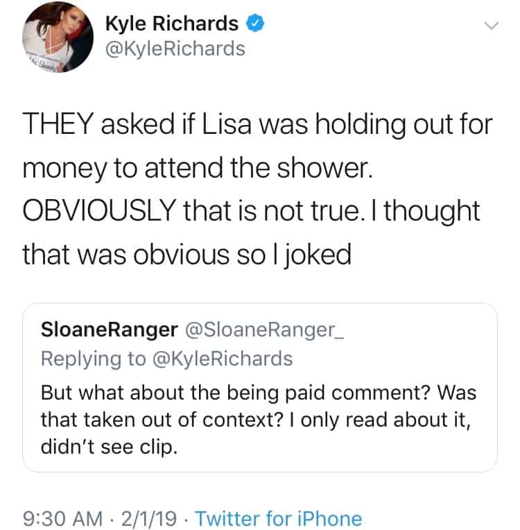 Kyle Richards denies dissing Lisa Vanderpump
