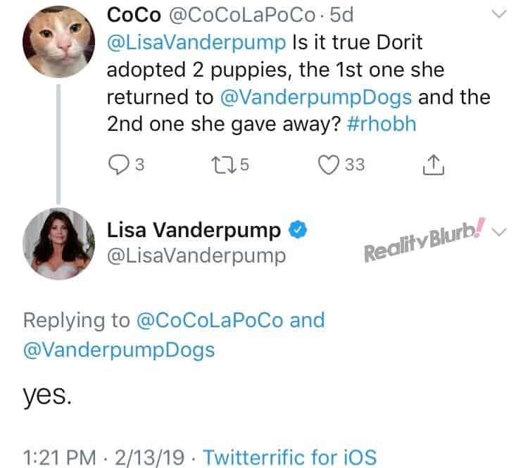 Lisa Reveals Dorit adopted two dogs