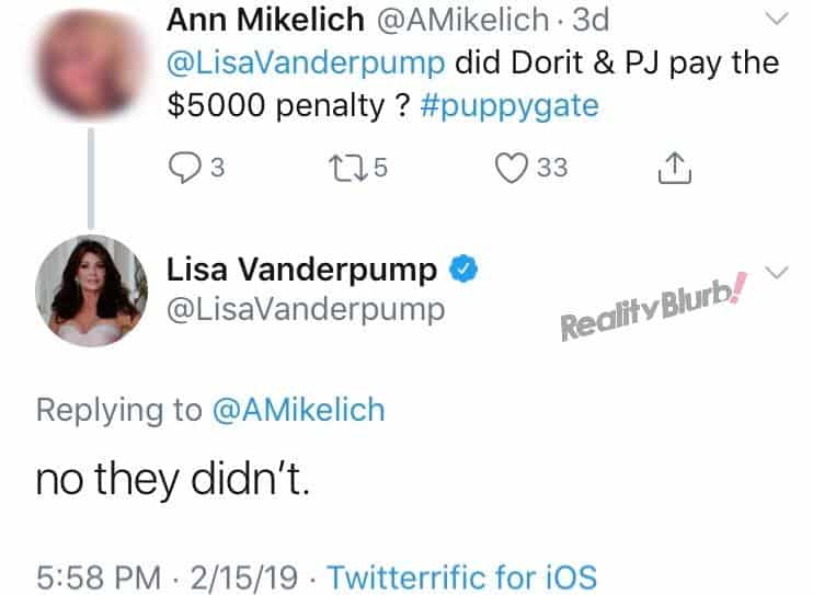 Lisa Reveals PK and Dorit Kemsley Did Not Pay 5000 Penalty
