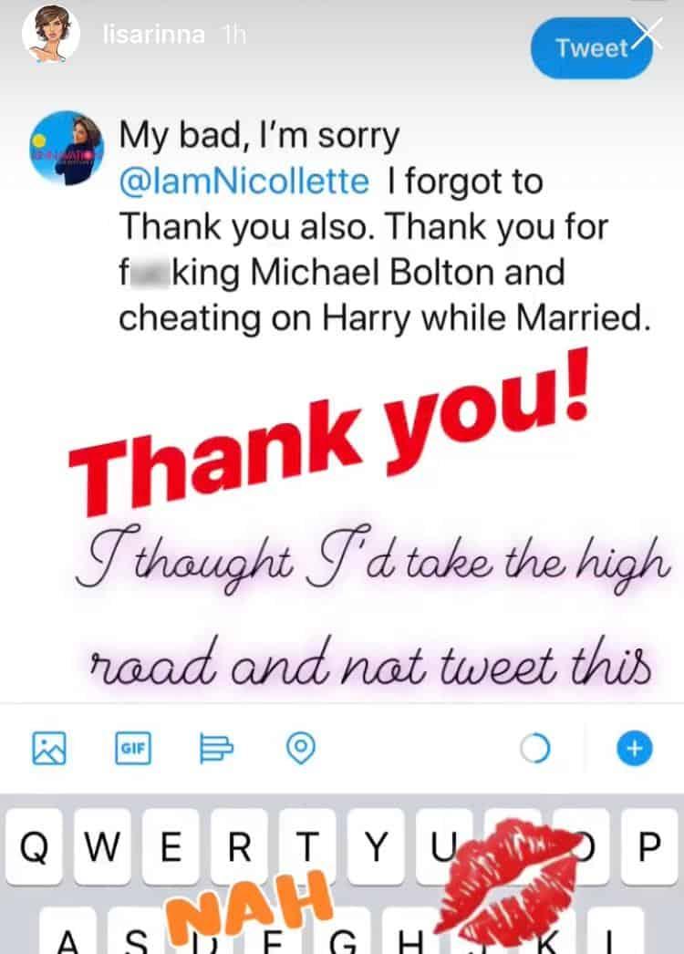 Lisa Rinna claps back at Nicollette Sheridan