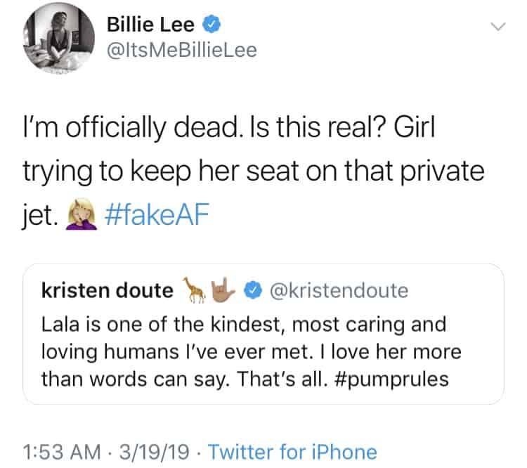 Billie Lee calls Kristen Doute Fake on Twitter