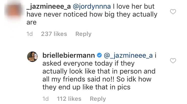 Brielle Biermann Says Lips Look Different In Photos