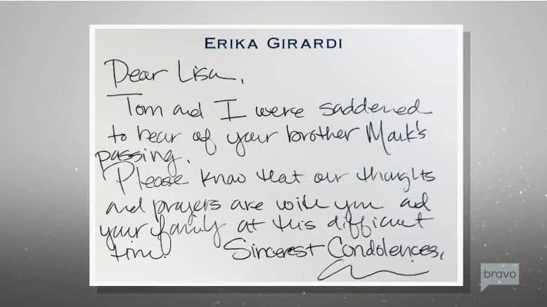 Erika Jayne condolence note to Lisa Vanderpump