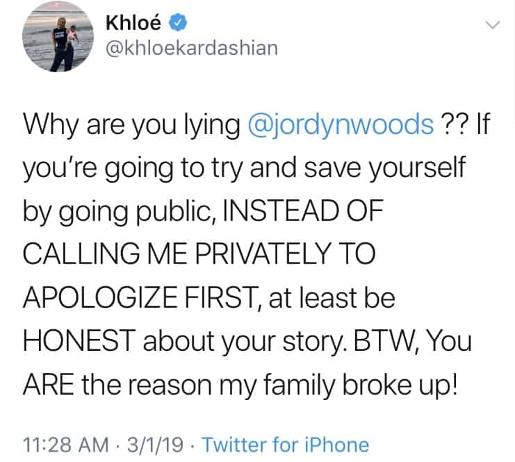 Khloe Kardashian Calls Out Jordyn Woods for Breaking Up Family