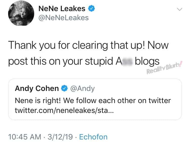 Nene Leakes Calls Out Andy Cohen on Twitter