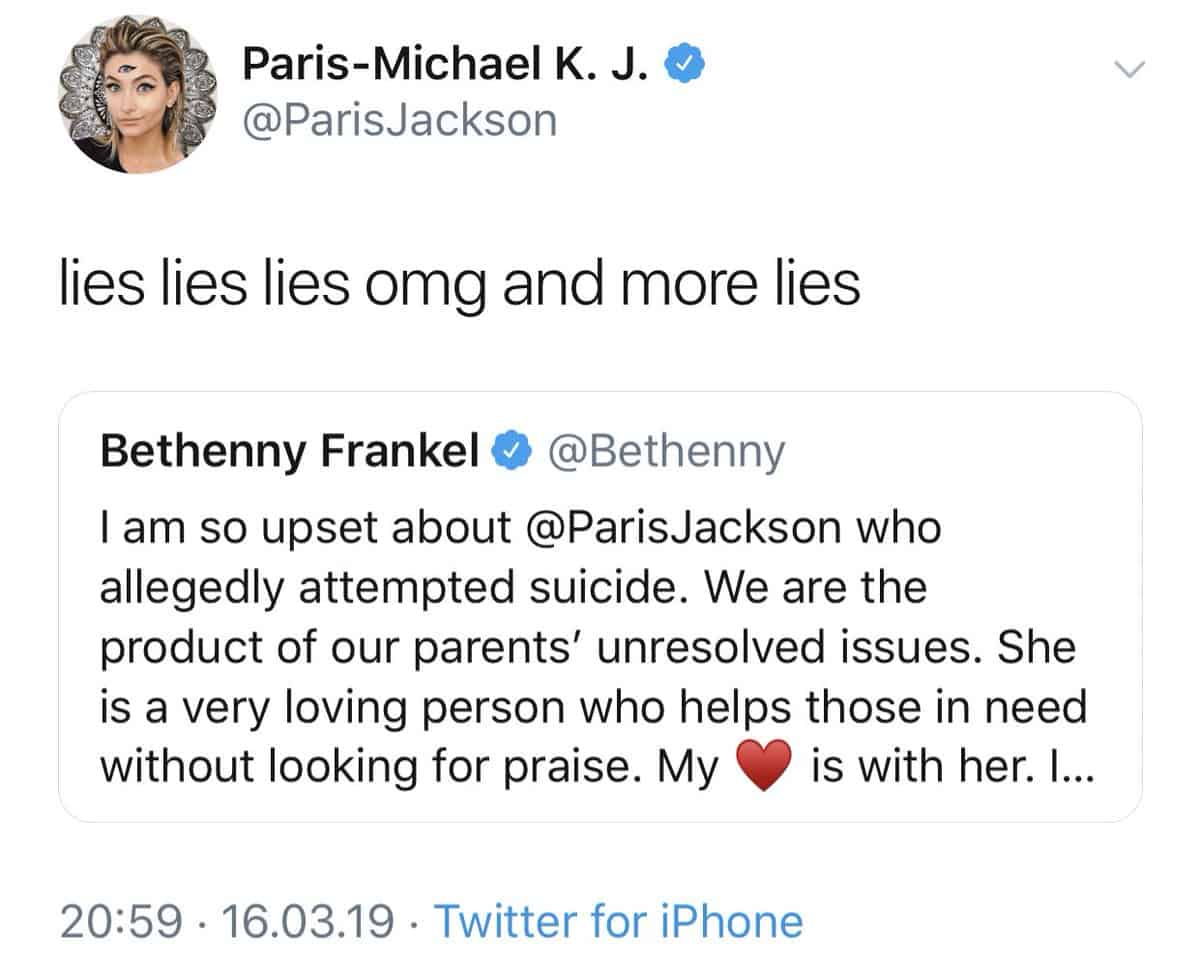 Paris Jackson Blasts Bethenny Frankel
