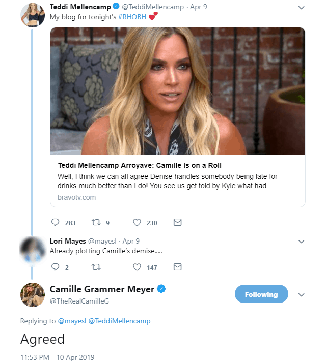 Camille Grammer accuses Teddi Mellencamp of plotting against her