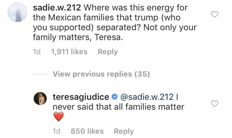 Teresa Giudice responds to backlash over Joe Deportation