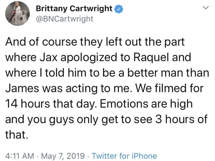 Brittany Cartwright responds to Vanderpump Rules reunion backlash