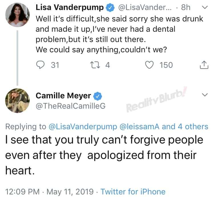 Camille Grammer accuses Lisa Vanderpump of holding a grudge