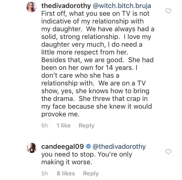Candiace mom Dorothy explains feud over wedding invite