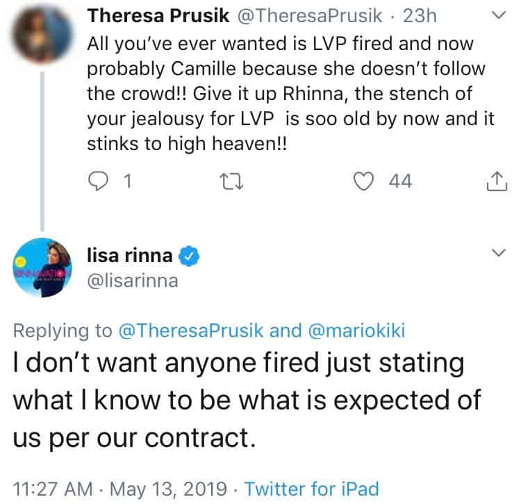 Lisa Rinna Doesn't Want Lisa Vanderpump Fired in Tweet