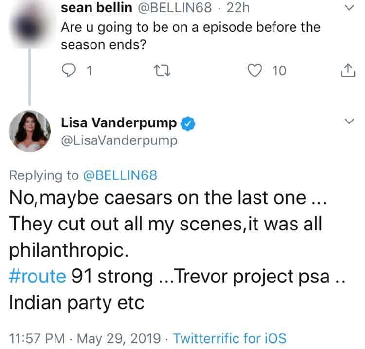 Lisa Vanderpump says her scenes were cut from RHOBH