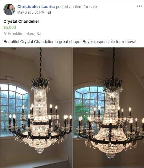 RHONJ Jacqueline Laurita and Chris Laurita Sell $5000 Chandelier on Facebook
